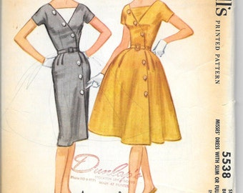 McCALL'S 5538 UNCUT Size 10 Bust 31 Vintage 1960's Front Lapped Assymetrical Buttons Dolman Sleeves 4-Gore Slim Full Skirt  Dress Pattern