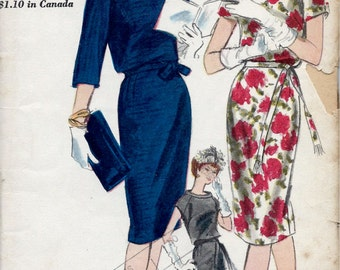 UNCUT 1960's Vogue Pattern No. 5311 - Wiggle Dress with Bloused Bodice and Open Band Neckline  Bust 32