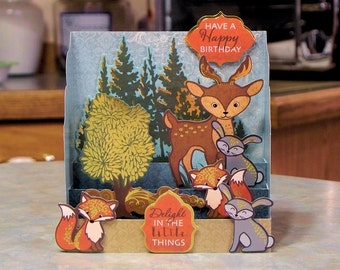 """Diorama Birthday Card - 6.75"""" x 5.25"""" - Cute Forest Animals & Trees with Gold Foil Accents"""