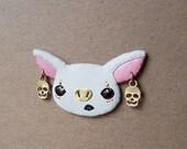 White Bat brooch, bat pin, bat brooch, bat jewelry
