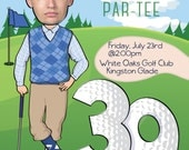 Man's Golf Birthday Party Invitation - ANY AGE 30th 40th 50th 60th 70th 80th- Personalized with your photo - DIGITAL file