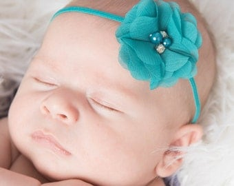 Teal Headband, mint headband, skinny elastic headband, baby headband, newborn headband, photo prop newborn, photo prop baby hair accessories