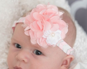 light pink elastic headband, white flower headband, cake smash outfit, girl birthday gift, flower girl headband, baby shower gift,
