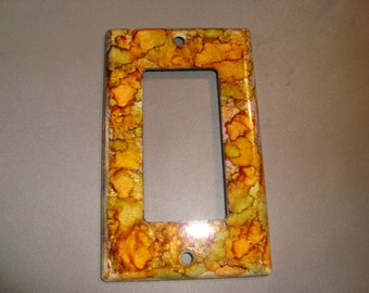 ORANGE WHIMSICAL Hand Painted Rolling Toggle GFI Light Switch Plate/Outlet Cover