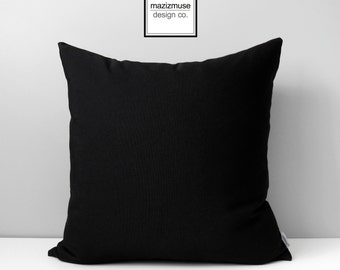 Black Outdoor Pillow Cover, Modern Black Sunbrella Pillow Cover, Decorative Throw Pillow Case, Solid Black Cushion Cover, Mazizmuse