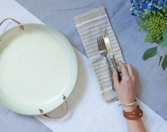Handmade Ceramic Serving Platter with Leather Handles