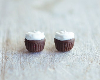 Tiny Chocolate Cupcake w/ Vanilla Frosting Earring Posts