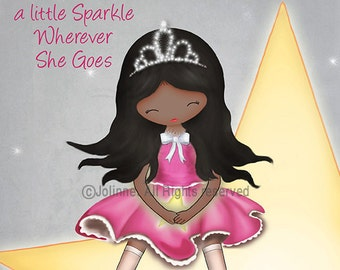 She leaves a little sparkle wherever she goes - African american Girl Wall Art, Girls Room Decor, Art for Kids, Baby girl Nursery Art