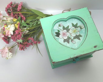 Shabby Chic Mint Jewelry Box Hand Painted Mint Jewelry Box Heart Box