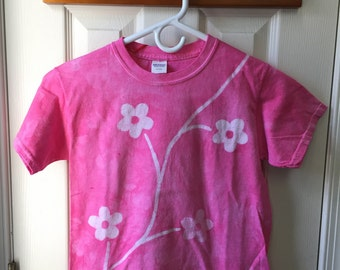 Girls Flower Shirt (Youth S), Flower Girls Shirt, Kids Flower Shirt, Pink Flowers Shirt, Batik Kids Shirt, Pink Flower Girls Shirt