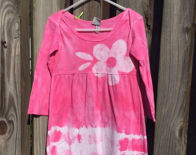 Pink Easter Dress, Pink Girls Dress, Girls Flower Dress, Flower Girls Dress, Pink Flower Dress, Tie Dye Dress, Batik Girls Dress (2T)