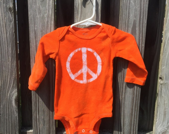 Peace Sign Baby Bodysuit (9 months), Orange Peace Sign, Baby Boy Peace Sign, Baby Girl Peace Sign, Gender Neutral Baby Gift