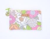 Quilted  Floral Zipper Pouch Makeup Bag Clutch Coin Purse