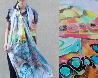 Silk Shawl Hand Painted Scarf One of a Kind Gift Giant Butterfly Wings Ready to Ship