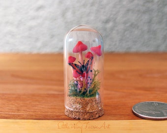 Mini Bell Jar with Orange Mushrooms and Butterfly