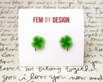 Four Leaf Clover Earrings, Lucky Clover Earrings, Four Leaf Clover Jewelry, St Patricks Day Earrings, Green Clover Luck Of The Irish Jewelry