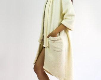 Cocoon cozy kimono sweater / Cream oversized midi length fluffy cardigan sweater - TWELVE collection