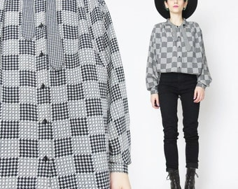 1980s Bow Tie Blouse Checkered Houndstooth Print Shirt Black and White OP Art  Shirt 80s Secretary Blouse Long Sleeve Womens Button UP (M)