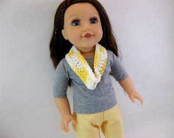 18 inch Doll Outfit to Fit American Girl Dolls  Gray T Shirt & Pale Yellow Pants Crochet Infinity Scarf Toys
