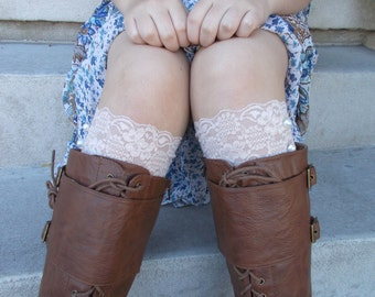 Buff Lace Boot Cuffs, Boot Accessories, Lace Boot Socks Buttons, Small Gifts for Women, Lace Leg Warmer, Boot Toppers, Gifts for Teen Girls