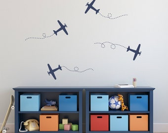 Airplane Wall Decal Set - Plane Wall Stickers - Set of 4 Airplane Decals - Medium Set
