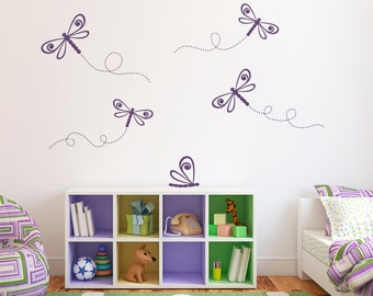 Dragonfly Wall Decal Set - Girl Bedroom Decal - Dragonflies Wall Stickers - Set of 5