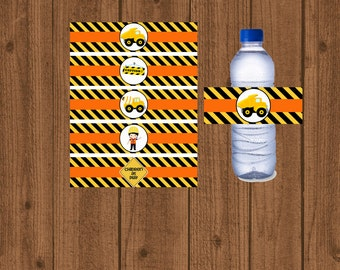 Construction Birthday Water Bottle Labels, Boys Construction Party Printable, Boys Birthday Decorations, Instant Download