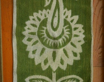 Great Green and White Vintage Hand Towel