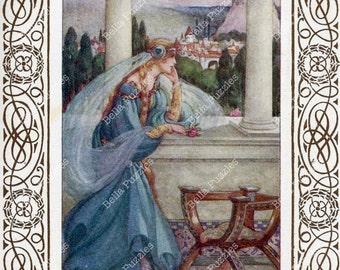 Hand-cut wooden jigsaw puzzle. Blue Dress Princess. Fairy Tale Fairytale gift. Wood, collectible. Bella Puzzles.