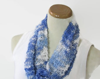 Blue Spring Scarf, Knit Cowl, Knit Circle Scarf, Light Blue Cowl, Loop Scarf, Gift For Her, Mother's Day Scarf, Women's Scarf, Fiber Art,