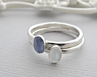 Moonstone Ring, Gemstone Ring, Silver Ring, Personalized Ring, Moonstone Jewelry, Stacking Ring, Mothers Ring, Stack Ring, Stackable Ring