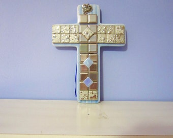 Mosaic Cross, blue glazed stoneware with silver tiles