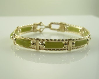 WSB-0177 New Jade Gemstone Handmade Bangle Bracelet Wire Wrapped with 14k Gold Filled Wire