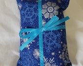 Catnip Pillow Present - blue and silver snowflakes with light blue ribbon