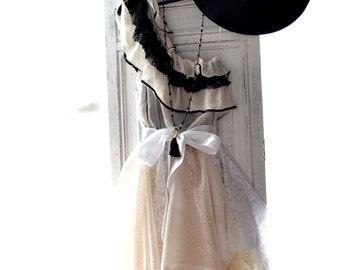 One shoulder dress, Bohemian ruffle high low slip dress, Creme black romantic lace dress, Romantic clothing, Boudoir, True rebel clothing