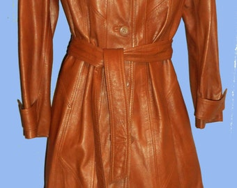 Womens Vintage Immaculate 1970's Copper Penny  Leather Belted Trench coat SZ 12