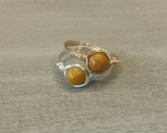 Yellow Jasper Argentium Sterling Silver or 14k Yellow Gold Filled Wire Wrapped Ring