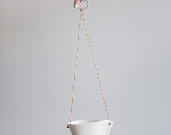 Tapered Porcelain Hanging Planter With Drainage