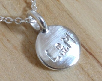Personalized Couple Initials Necklace - Sterling Silver Custom Disc Couple Date - Wedding or Anniversary Gift - Bridal Shower Push Present