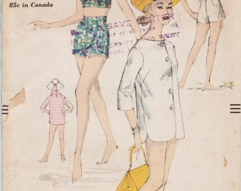 Vogue 9723 / Vintage 50s Sewing Pattern / Bathing Suit / Swimsuit / Bra Top  / Beach Jacket / Shorts / Size 14 Bust 34
