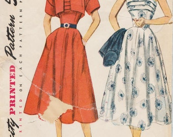 Simplicity 8389 / Vintage 1950s Sewing Pattern / Strapless Or Halter Dress And Bolero Jacket / Size 16 Bust 34