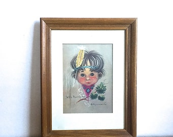 Monteague American Indian Boy Framed Picture Signed