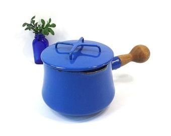 vintage 60s 70s dansk saucepan kobenstyle enamelware blue enamel trivet lid sauce pan wood handle ihq france danish modern mid century pot