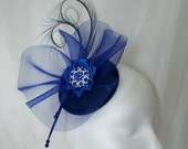Elegant Royal Cobalt Blue Curl Feather Crinoline & Crystal Pearl Wedding Fascinator Mini Hat - Custom Made to Order