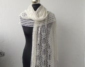 Light Cream hand knitted beaded lace shawl with Frost Flowers pattern