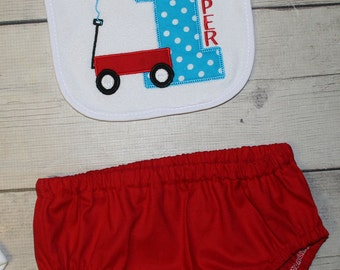 Red Wagon Birthday Bib and Diaper Cover- Cake smash Outfit--First Birthday Outfit- Wagon Birthday--Photo prop