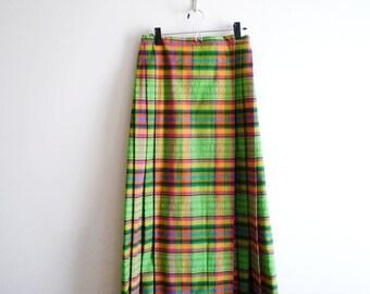 70s Plaid Pleated Maxi Skirt Saks Fifth Avenue