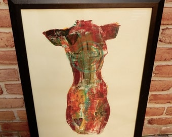 1990s Original Abstract Monoprint Michael Jones Large Colorful 3 Tone Patterned Female Torso Pencil Signed Dated Framed
