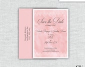 Save the Date. Wedding Invitation. Pink Watercolor Save the Date. Formal Save the Date. (Set of 20)