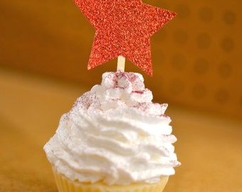 Red Glitter Star Twinkle Twinkle Little Star Set of  12 Cupcake Toppers with Glitter Star Baby Shower, Bridal Shower, Birthday Party!